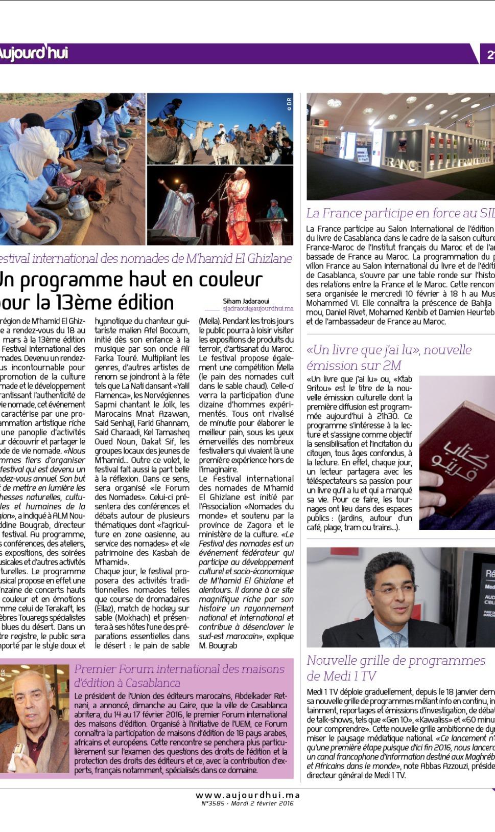 article Aujourd'hui le Maroc - Festival des nomades 2016 M'hamid Ghizlane .jpg